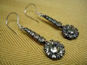 1930's Floral Drop Paste Earrings in Silver Settings - Victorian Revival Style(SOLD)